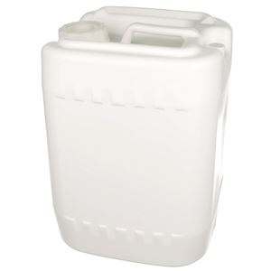 5 Gallon White HDPE Plastic Handled Oblong Tight Head Drum Carboy - 70-400 Neck Finish - Angled View