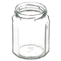 9 oz Clear Glass 12-Sided Jar - 63-2030 Thread Stop Lug Neck Finish - Angled View