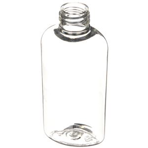2 oz Clear UV Inhibitor PET Plastic Reverse Tapered Oval Bottle - 20-410 Neck Finish - Angled View