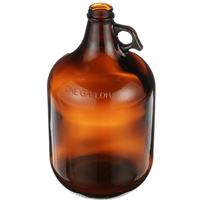 1 Gallon Amber Glass Round Handleware Jug - 38-400 Neck Finish - Angled View
