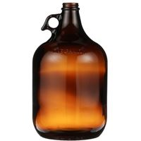 1 Gallon Amber Glass Round Handleware Jug - 38-400 Neck Finish - Front View