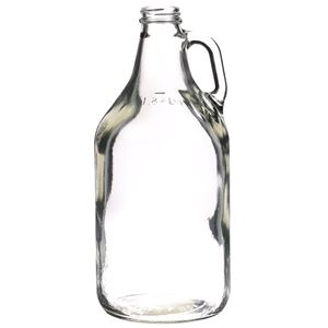 64 oz Clear Glass Round Handleware Growler - 38-400 Neck Finish - Front View