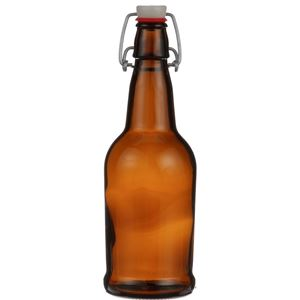 16 oz Amber Glass EZ Cap Beer Bottle - Includes Swing Top Stopper - Front View