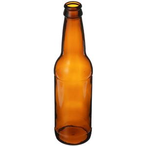 12 oz Amber Glass Round Beer Bottle - 26mm Pry-Off Crown Neck - Angled View