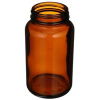 300 cc Amber Glass Round Packer Bottle - 53-400 Neck Finish - Angled View