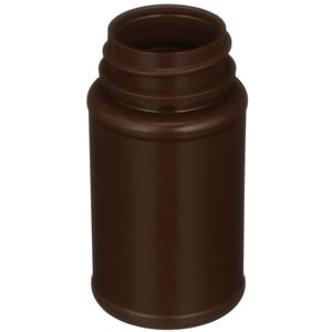 60 cc Brown HDPE Plastic Round Packer Bottle - 33-400 Neck Finish - Angled View
