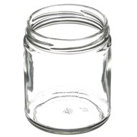 9 oz Clear Glass Round Straight Sided Jar - 70-2030 Lug Neck Finish - Angled View
