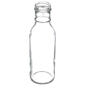 12 oz Clear Glass Round Ring Neck Sauce Bottle - 38-405 Neck Finish - Angled View