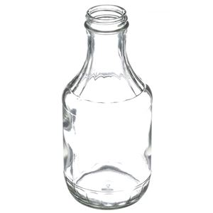 16 oz Clear Glass Round Long Neck Decanter - 38-400 Neck Finish - Angled View