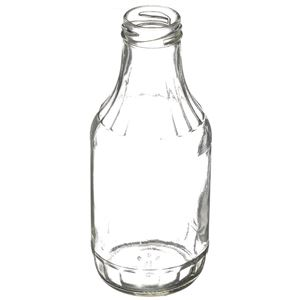 16.56 oz Clear Glass Round Carafe/Decanter Sauce Bottle - 38-2000 Lug Neck Finish - Angled View