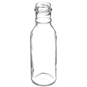 12 oz Clear Glass Round Long Neck Bottle - 38-2000 Lug Neck Finish - Angled View