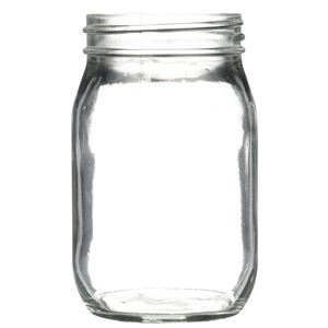 16 oz Clear Glass Round Mayo Jar - 70-450 Neck Finish - Front View
