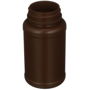 120 cc Alpha Brown HDPE Plastic Round Packer Bottle - 38-400 Neck Finish - Angled View