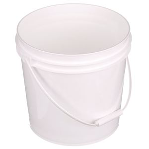 2 Gallon White HDPE Plastic Round Pail - Plastic Swing Handle - Angled View