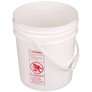 4 Gallon White HDPE Plastic Round Pail - Plastic Swing Handle - Angled View
