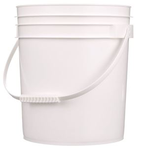 4 Gallon White HDPE Plastic Round Pail with Plastic Swing Handle - Front View