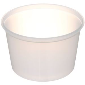 16 oz Natural P/P Plastic Round Tub  - 408 Diameter - Angled View