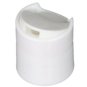 20-410 White P/P Plastic Press Top Dispensing Lined Round Closure - FS5-9 Liner - Front Open View