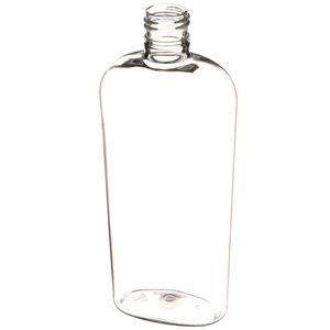 12 oz Clear PET Plastic Straight Sided Oval Bottle - 24-415 Neck Finish - Angled View