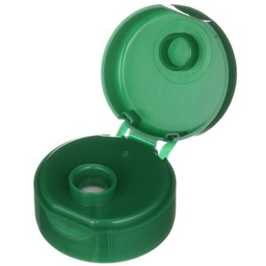 28-400 Green P/P Plastic Flip Top Dispensing Lined Round Closure - 0.250 Inch Orifice - Front Open View