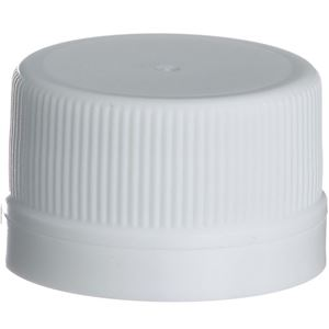 28 mm  White P/P Plastic Tamper Evident Lined Round Closure - LNP F828 Liner - Front View