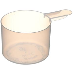 """94 cc Natural P/P Plastic Short Handled Scoop - 3.5"""" Total Length - Angled View"""