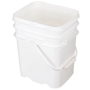 5.3 Gallon White HDPE Plastic Oblong EZ Stor Pail - Refillable - Angled View