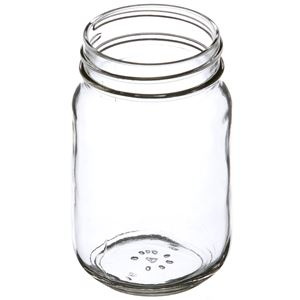 16 oz Clear Glass Round Jar - 70-450 Neck Finish - Angled View