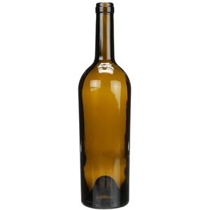 750 ml Antique Green Glass Tapered Claret Wine Bottle - 28.9mm Cork Neck Finish - Front View