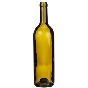 750 ml Antique Green Glass Claret Wine Bottle - 28.9 mm Cork Neck Finish - Front View