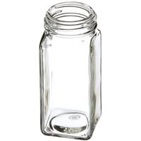 4 oz Clear Glass Square Spice Jar - 43-485 Neck Finish - Angled View