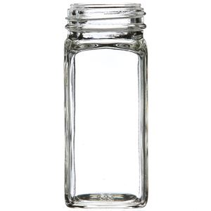 4 oz Clear Glass Square Spice Jar - 43-485 Neck Finish - Front View