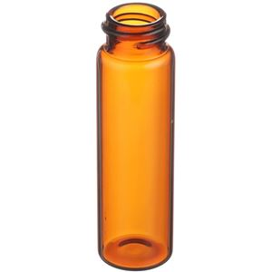 4 Dram Amber Glass Round Vial - 18-400 Neck Finish - Angled View
