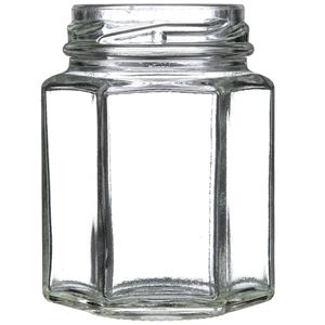 110 ml Clear Glass Hexagon Jar - 48 mm Lug Neck Finish - Front View