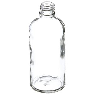 100 ml Clear Glass Round Euro Dropper Bottle - 18mm Neck Finish - Angled View