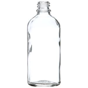100 ml Clear Glass Round Euro Dropper Bottle - 18mm Neck Finish - Front View