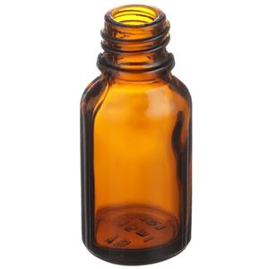 15 ml Amber Glass Euro Dropper Bottle - 18mm Neck Finish - Angled View