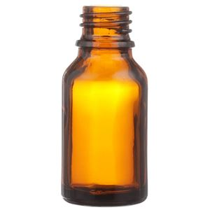 15 ml Amber Glass Euro Dropper Bottle - 18mm Neck Finish - Front View