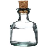 3.5 oz Clear Glass Cork Top Oval Bottle with Cork - Front View