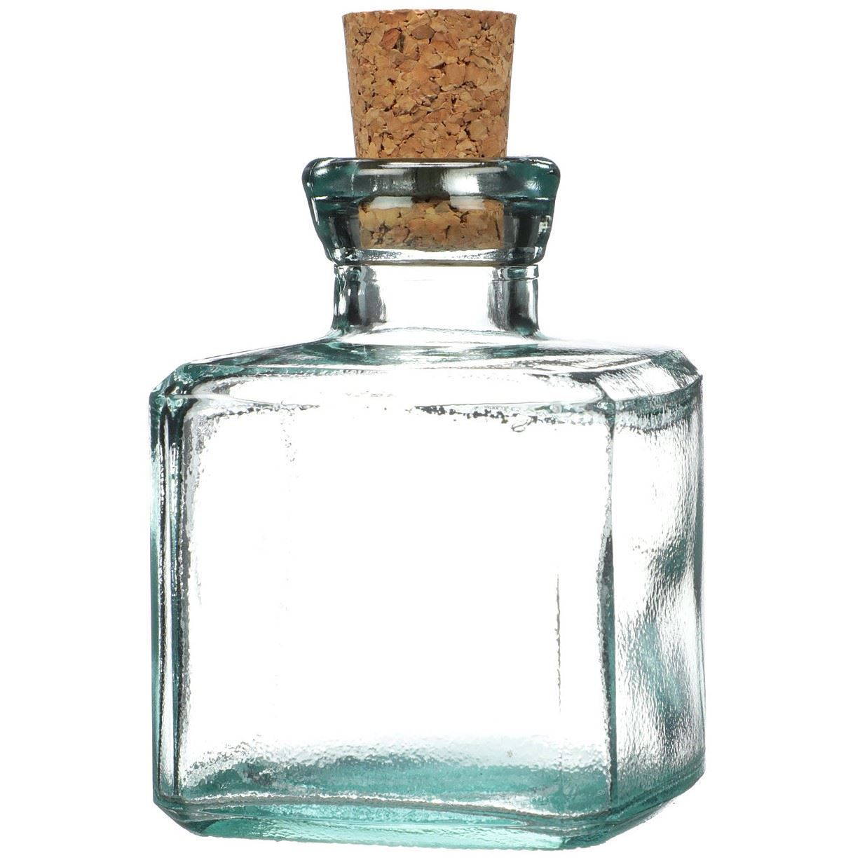 6 Oz Clear Glass Cork Top Square Bottle 8 Tapered Cork Included