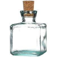6 oz Clear Glass Cork Top Square Bottle - Cork Included - Front View