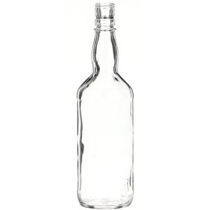 750 ml Clear Glass Round Liquor Bottle - 28 mm Cork Neck Finish - Front View