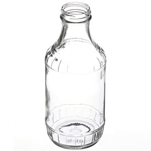6 oz Clear Glass Round Carafe/Decanter Bottle - 38-405 Neck Finish - Angled View