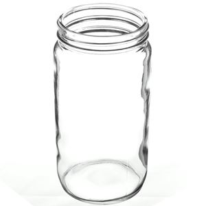 16 oz Clear Glass Round Jar - 70-400 Neck Finish - Angled View