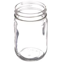 12 oz Clear Glass Round Economy Jar - 70-450 Deep Skirt Neck Finish- Angled View