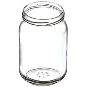 16 oz Clear Glass Round Jar - 70-2030 Neck Finish - Angled View