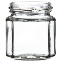 120 ml Clear Glass 10-Sided Jar - 53-2030 Neck Finish - Front View