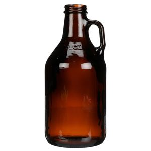 32 oz Amber Glass Round Handleware Growler - 38-400 Neck Finish - Front View