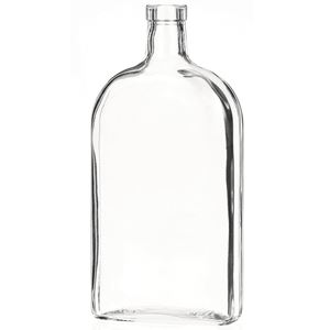 750 ml Clear Glass Oblong Straight Sided Liquor Bottle - 32 mm-3120 Bar Top Neck Finish - Front View
