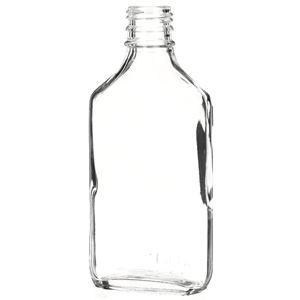 200 ml Clear Glass Convex Liquor Flask - 28-3500 Neck Finish - Front View